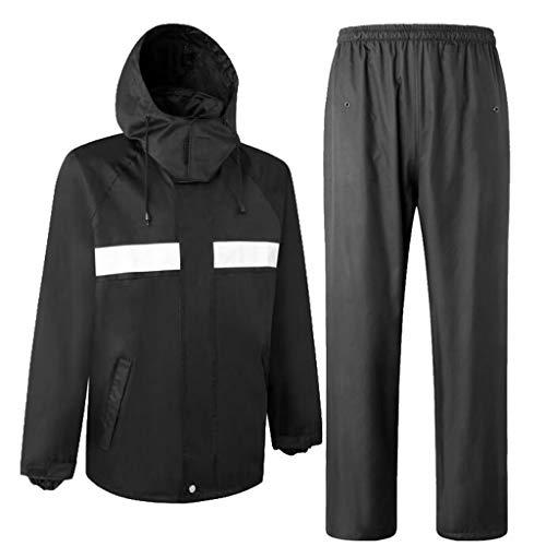 Homyl Giacca Pantaloni Impermeabile Vestiti Antipioggia Costumo Tasche Frontali - Nero, XXL