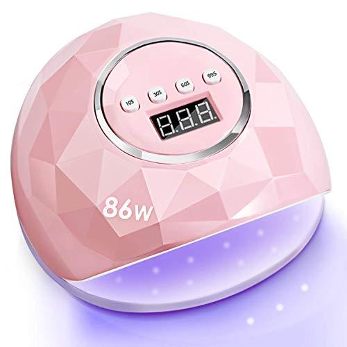 Janolia Lámpara Secador de Uñas, 86W LED UV Lámpara de Uñas con 4 Ajuste de Temporizadores, para Esmalte de Uñas con Sensor Automático y Protección Contra Sobretemperatura