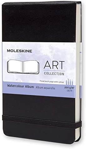 "Moleskine Art Watercolor Album, Hard Cover, Large (5"" x 8.25"") Plain/Blank, Black, 72 Pages"