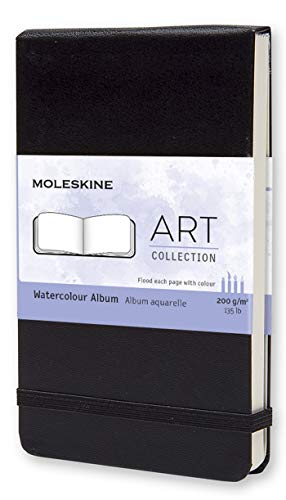 Moleskine Art Collection Watercolor Album, Notebook da Disegno, Copertina Rigida e Chiusura ad Elastico, Carta Adatta a Acquerelli e Matite Acquerellabili, Colore Nero, Pocket 9 x 14 cm, 60 Pagine