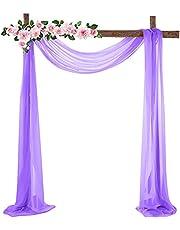 Hapeisy Chiffon Stof Drapery Bruiloft Boog Drapes, Sheer Window Sjaal Party Achtergrond Gordijn Panel voor Bruiloft Ceremonie Receptie Swag Decoratie