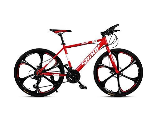 HAOGUO Ocio mayorBicicleta de montaña para Adultos 26 Pulgadas 27 velocidades VTT Bicicleta Frenos de Doble Disco Bicicleta de montaña Velocidad Fuera de Carretera ATV Bicicleta de montaña Rojo