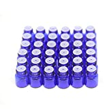 Yizhao Essential Oil 1ml Blue Sample Glass Bottle, Samll Sample Glass Vials Empty for Essential oil Diffuser,Massage,Beauty Oil Mix,Lab bottle with [Orifice Reducers]– 36 Pcs…