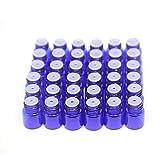 Yizhao Azul Botellas de Aceite esencial de Vidrio Vacías 1ml,con Reductor de Orificio y Tapa,Para Aceites Esenciales, Aromaterapia,Perfumes,Masajes,Laboratorio de Química – 36 Pcs