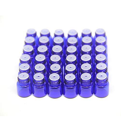 Yizhao Azul Botellas de Aceite esencial de Vidrio Vacías 1ml,con Reductor de Orificio y Tapa,Para Aceites Esenciales, E-Líquidos,Aromaterapia,Perfumes,Masajes,Laboratorio de Química – 36 Pcs