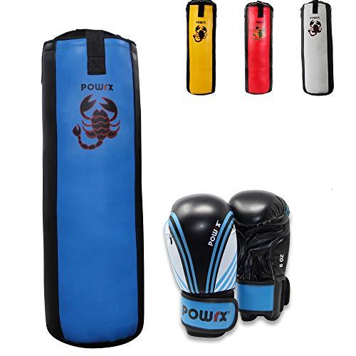 POWRX Boxset für Kinder Jugendliche I Boxsack + Boxhandschuhe I 2, 2,5 und 3 Fuß (3 Fuß (Blau/Schwarz))