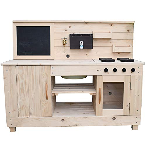 Big Game Hunters Triple Mud Kitchen with Working Tap – Children's Wooden Outdoor Play Kitchen