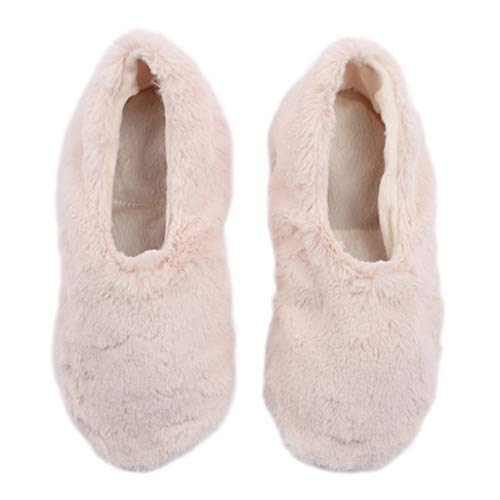 Pantuss size medium natural Ballerina style Aromatherapy house Slippers for women featuring removable and heatable lavender-filled insoles. These fluffy slippers are perfect house shoes for women