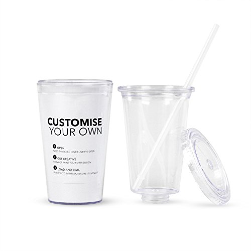 Eco To Go Cold Drink Tumbler - Double Wall -16oz. Capacity - Clear w/Removable Insert