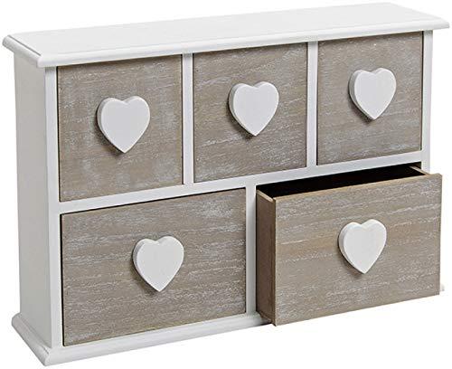 marion10020 Schmuck-Schränkchen aus Holz, mit 5 Schubladen, Schmuckkästchen Schmuckkasten Dose