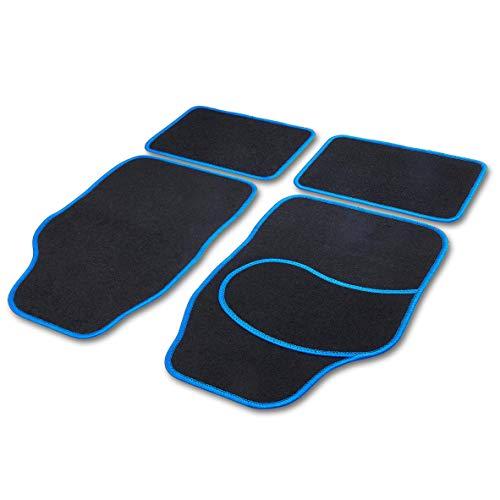 Cartrend 10599 Universal Teppich Matten Stoffmatten Autoteppiche Fussmatten Auto 4-teilig, Hochglanzgarn, Textilmatte Basic blau