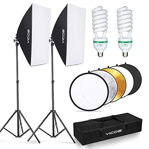 YICOE Softbox Lighting Kit with 60cm Reflector Professional Continuous Studio Photography Equipment with 2 95W Bulbs 5500K for Filming Portrait Product Shooting Photography Video Recording