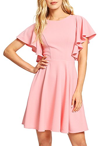 Romwe Women s Stretchy A Line Swing Flared Skater Cocktail Party Dress Pink M
