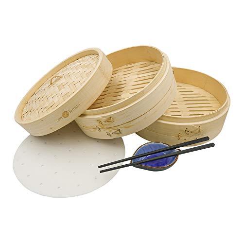 Bamboo Steamer 10 Inch - Handmade Steam Basket Bamboo - 2 Tier Dumpling Steamer Ideal For Dim Sum, Vegetables, Bao Buns & More - 2 Sets of Reusable Chopsticks, 20 Liners, Ceramic Sauce Dish Included