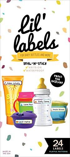 Bottle and Food Labels, Write-On, Freezer Safe, Self-Laminating, Waterproof Kids Name Labels for Baby Bottles, Sippy Cup for Daycare School, Dishwasher Safe (Playful Patterns)