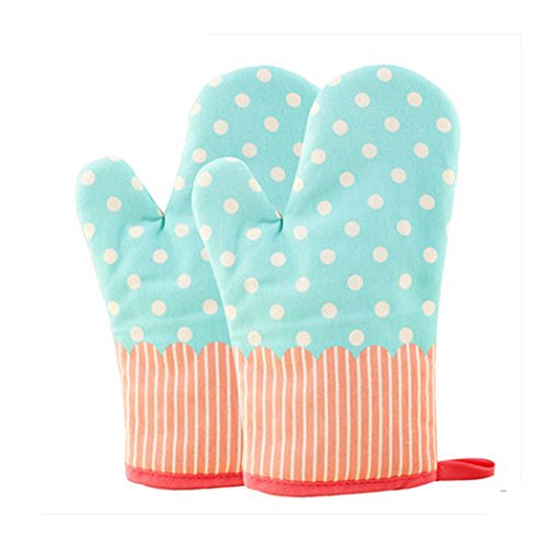 KinChi Glove Microwave BBQ Oven Cotton Baking Pot Mitts Cooking Heat Resistant Kitchen,100% Quilted Cotton with Thick Terry Cloth Lining, Set of 2 Mittens (Blue)
