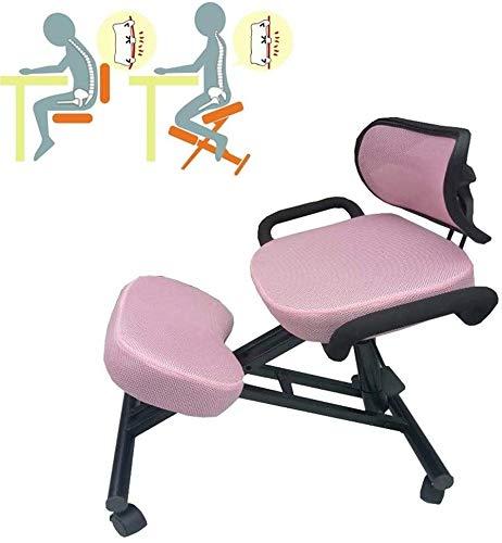 QSHG Kniend Stühle Bürostuhl Posture Stuhl Ergonomie Stuhl, mit Rücken mit Griff Mit Caster Richtige Sitzhaltung Kleine Hocker (Color : Pink)