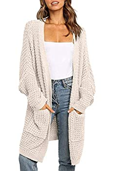 YIBOCK Women s Long Batwing Sleeve Open Front Chunky Knit Cardigan Sweater with Pockets Beige