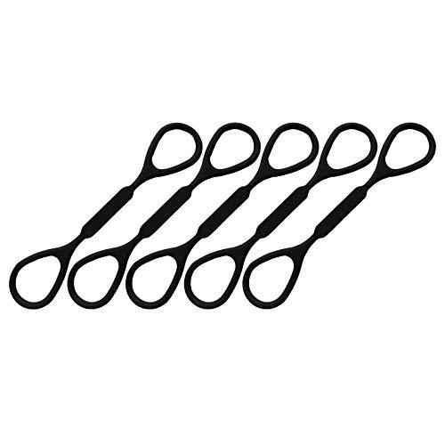 Nobranded Paquete de 5 Instrumentos Musicales de Anillo de Tope Deslizante de Trompeta de Caucho de Silicona Negro