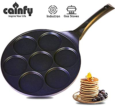 Cainfy Pancake Pan Maker Nonstick-Suitable for All Stovetops,10.5 Inch Mini Non Stick Silver Dollar Grill Blini Griddle Crepe Pan,7 Molds Cake Egg Cooker Skillet for Kids Gifts,100% PFOA Free Coating
