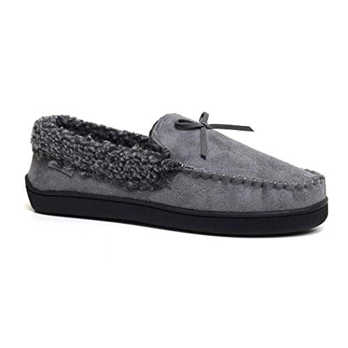 Dunlop - Zapatillas de piel de oveja sintética con espuma viscoelástica para hombre, color Gris, talla 44 EU