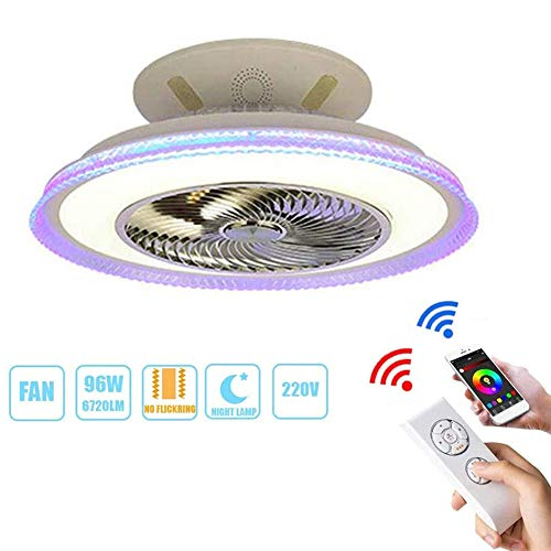 HONGLONG 96W LED Deckenventilator Bluetooth Lautsprecher-Musik-Decken dimmbare Lampe mit Fernbedienung Modern Office Restaurant Lounge Beleuchtung Silent Fan (Farbe: weiß),Schwarz