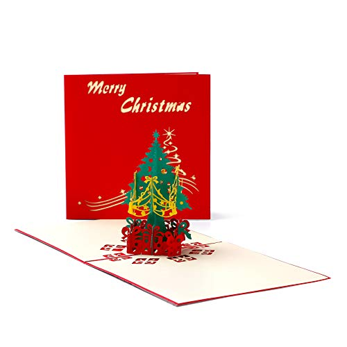 3D Christmas Greeting Cards Pop Up Christmas Card,Greeting Holiday Birthday Cards,Xmas/New Year Handmade Thank You Cards whith Envelopes-1Pack Christmas tree