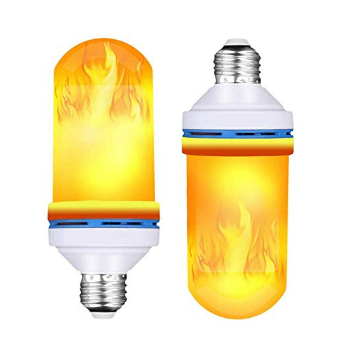 Mintice 2 Stück Flammen Lampe Glühbirne Flammenlicht E27 Base 6W LED Flammeffekt flackernde Feuerglühbirnen 4 Beleuchtungsmodi Schwere Atmung dekorativ retro Garten Hochzeit Party Weihnachten