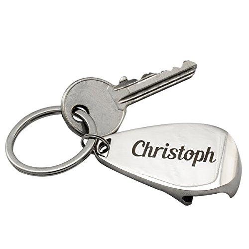 Schlüsselanhänger – Flaschenöffner: persönlicher Schlüsselanhänger mit Gravur – personalisiert mit Wunschname – praktisches I Geschenk für Männer
