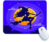 Mabby ゲームオフィスのマウスパッド,a sexy witch silhouette over a purple dark halloween night sky,Non-Slip Rubber Base Mousepad for Laptop Computer PC Office,Cute Design Desk Accessories