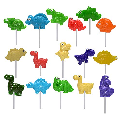 Passionfruit Dinosaur Candy Lollipops for Kids | Adorable, Delicious Suckers and Lollipops Come Individually-Wrapped | Great Dinosaur Birthday Party Decorations, Party Favors & Cake Toppers | 12 Pack