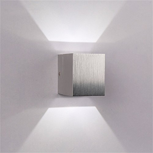 Icoco BeiyiHomeFR Wandleuchte, für den Innenraum, LED, modern, quadratisch, 3W, für Schlafzimmer/Treppe/Wohnzimmer/Büro/Terrasse/Eingang, Blanc Froid, 1 Cube