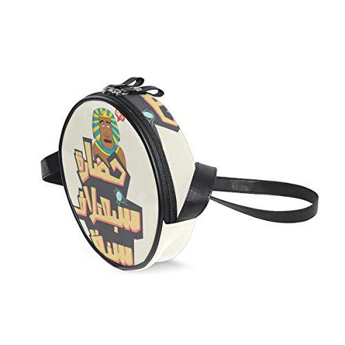Ägyptische runde Umhängetasche Schultertasche Handtasche Geldbörse Umhängetasche für Kinder Frauen