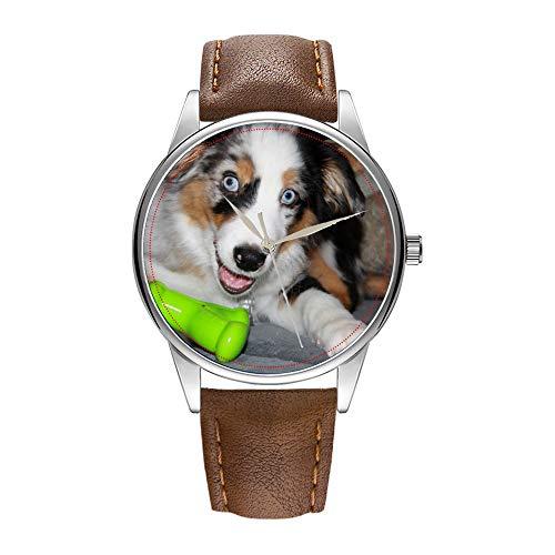 Herrenuhr braun Cortex Quarz Uhr für Männer berühmte Armbanduhr Quarzuhr für Business-Geschenk Aussie Blue Merle Puppy.png Uhren