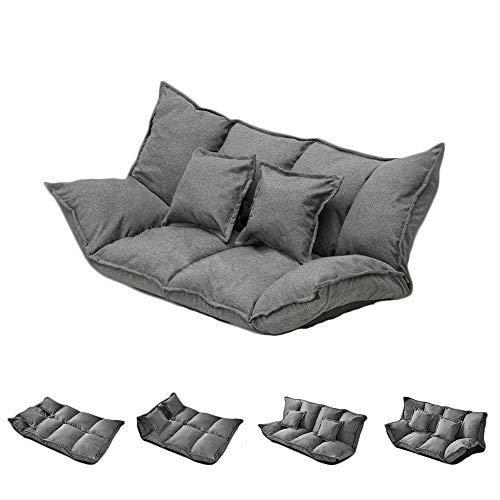 PUCHIKA Schlafsofa Lazy für Indoor, Sessel mit Schlaffunktion, Waschbar Sofabezug mit 2 Kissen Boden Stuhl 1,6 M, Grau.