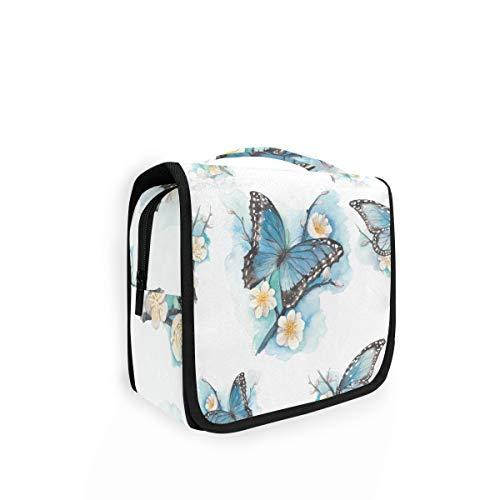 Tarity Hanging Travel Toiletry Bag for Women Men Large Capacity Makeup Cosmetic Bag with Hook Watercolor Blue Butterfly Portable Travel Pouch Train Case Organizer for Toiletries Accessories Kit Shower