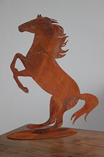 BADEKO Pferd Fridolin auf Bodenplatte, H 25 cm, Pferd aus Metall Edelrost