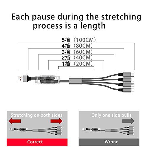 SDBAUX Multi Kabel USB 4 in 1 Universal Handy Einziehbares Ladekabel 1m, mit 2 iP/Typ C/Micro USB für Phone 12 11 Pro Max Xs Max Xr X 8 7 Plus, Samsung Galaxy S20 Google Pixel LG Huawei(Nur Aufladen)
