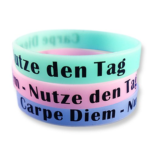 EKNA 3er-Set Fitness Armband mit Text Gravur Carpe Diem - Nutze den Tag zur Motivation - Silikonarmbänder in blau grün pink mit Leuchteffekt - Glow in The Dark Wristbands