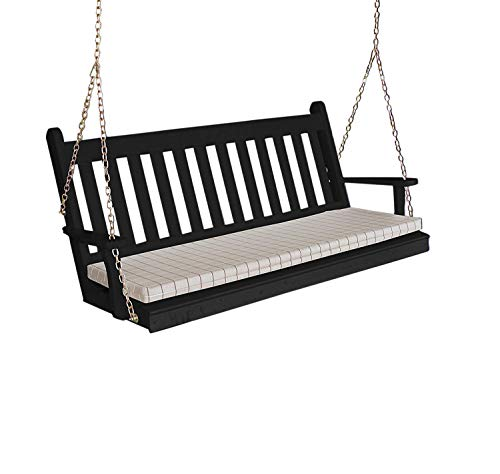 Aspen Tree Black Porch Swing Mission Style 5' Amish Outdoor Hanging Patio Pergola Swings Wooden Swinging Bench, 5 Foot Traditional English - Custom Made to Order