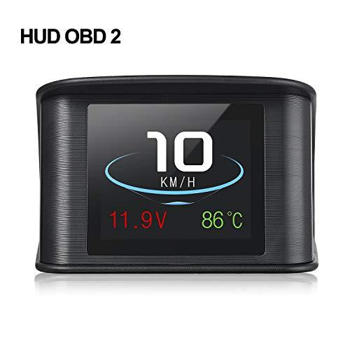 iKiKin Car Head Display Display OBD2 HUD con Pantalla TFT LCD Muestra detección de Voltaje RPM de Velocidad para código de Error Muti-Function Car HUD con EUOBD OBD 2 Interfaz P10