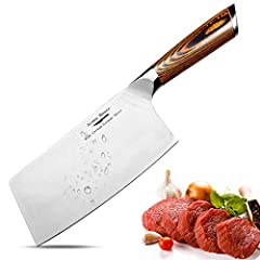 Premier Meat Cleaver➦An ideal Gift for any Home or Professional Kitchen Cook,High-quality Carbon Stainless Steel greatly improves the hardness of the Cooking Knife at 58-60 RHC. The chromium, molybdenum and vanadium metal elements have good special p...