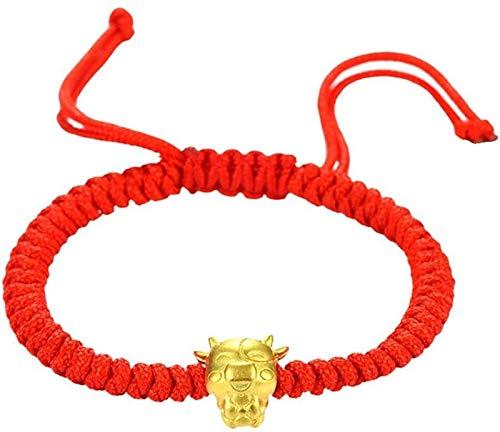 FLYAND Mascota Five Fortunes Golden Cow Pulsera de Cuerda roja 2021 Ox China Año Nuevo Tradición Zodiaco Lucky Blessing Bracelets