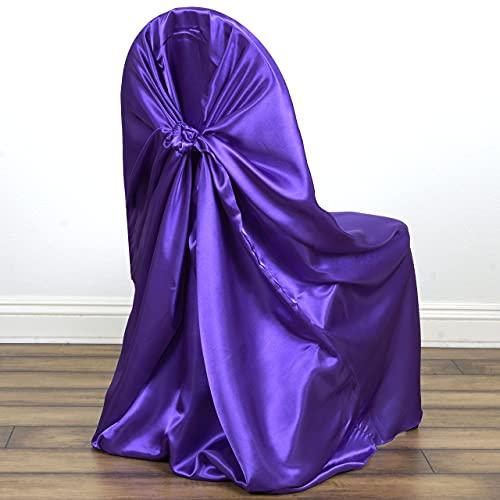 BaiJaC Tischtücher, 12 stücke Rote Universal Satin Slipcover für Hochzeitszeremonie Empfangsdekorationen (Color : Purple)