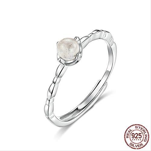 IWINO natuurlijke maansteen ring echte 925 sterling zilveren dunne vingerband voor vrouwen Bohemen stijl sieraden geschenken