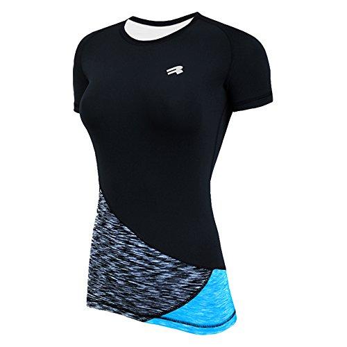 ROUGH RADICAL Damen Funktionsshirt T-Shirt Laufshirt Reaction (L, schwarz/grau/türkis)