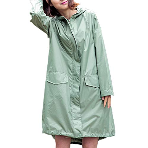 UCYG Poncho Regenjacke Regenmantel Leicht Faltbar Damen, Regencape Regenponcho Wasserdicht Atmungsaktiv für Fahrrad Camping Zubehör Outdoor (Color : Green)