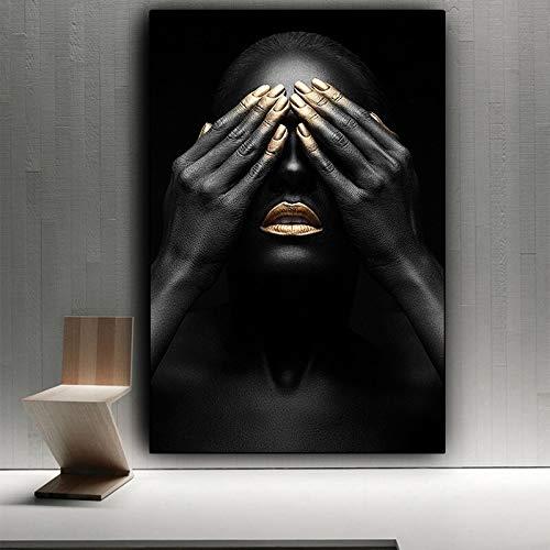 wZUN Manos Negras y Labios Dorados Pintura al óleo de Chica Desnuda sobre Lienzo Carteles e Impresiones Cuadro de Arte de Pared Africano en la Sala de Estar 50x70cm