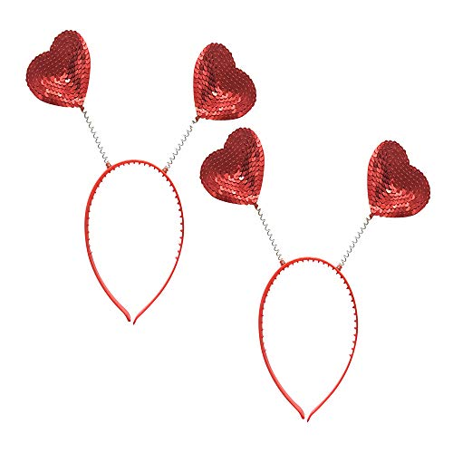 Hosfairy 2pcs Red Love Heart Shaped Sequin Headband Valentine's Day Hair Hoop Hair Loop Hair Clasp Hair Band Hair Accessories Dress Accessories for Girl
