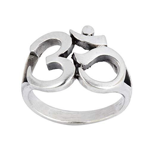 Silverly Frauen Männer .925 Sterling Silber OM Aum Ohm Hindu Sanskrit Klobig polierte Ring